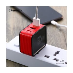 REMAX RP-U24 Kutry Series 2 Port USB & Type-c 3.4 A Red Adapter