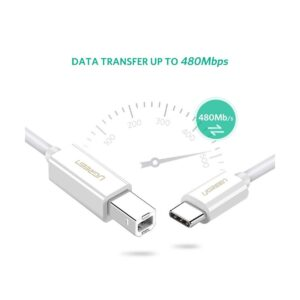 USB Type-C to Type-B, 1.5 Meter, White Cable