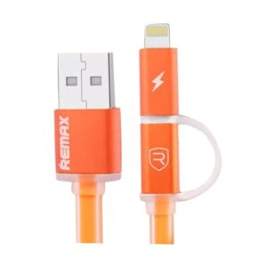 Remax USB Male to Micro USB & Lightning 1 Meter Orange Data Cable