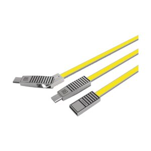 USB Male to Micro USB + Type-C + Lightning, 1 Meter, Yellow Data Cable