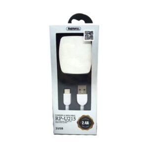 USB Male to Type-C,1 Meter, White Charging & Data Cable with Dual USB White Adapter