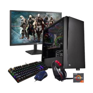 Gaming PC-R717 Ryzen 7 1700 3.7GHz, X370 Chipset, RX590 8GB Gr, 8GB DDR4 2933MHz, 2TB HDD + 256GB SSD, 21.5in Monitor, Gaming Headphone, Gaming KB and Mou