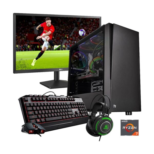 Gaming PC-R718X Ryzen 7 1800X 4.0GHz, X370 Chipset, RX590 8GB Gr, 16GB DDR4 3200MHz, 2TB HDD + 256GB SSD, 21.5in Monitor, Gaming Headphone, Gaming KB And Mou