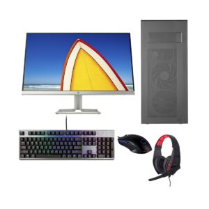 Gaming PC-Zi595 9th Gen Intel i5 9500 3.0GHz, B365M Chipset, 8GB DDR4 2666MHz, 256GB SSD + 2TB HDD, DVD RW, RTX2060 6GB Gr, 24in Monitor, Gaming Headphone, Gaming KB and Mou