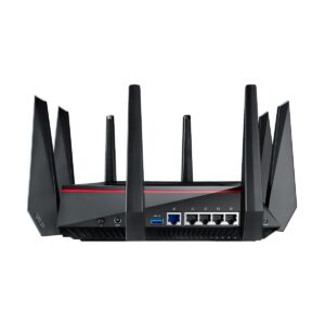 ASUS RT-AC5300 AC5300 Tri-Band Gigabit WiFi Gaming Router with MU-MIMO, supporting AiProtection network security powered by Trend Micro, built-in WTFast game accelerator and Adaptive