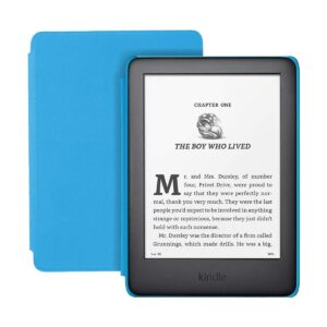 Amazon Kindle Kids Edition (10th Gen) 8GB Storage, 6 Inch Display, wifi, Built-in Light, White E-Reader, Blue Cover (Black)